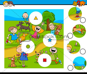 match pieces puzzle with kids and pets