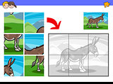 jigsaw puzzles with donkey farm animal character