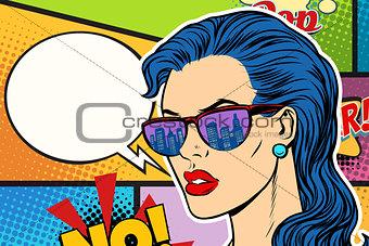 Pop art beautiful woman in sunglasses