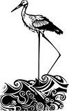 Woodcut ocean Stork