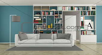 Modern living room with bookcase