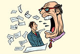 the boss yells at a subordinate. work and business