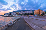 Town of Opatija waterfront at sunset view