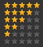 Star Rating.  Evaluation System and Positive Review Sign. Vector Illustration
