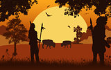 Native american indian silhouettes