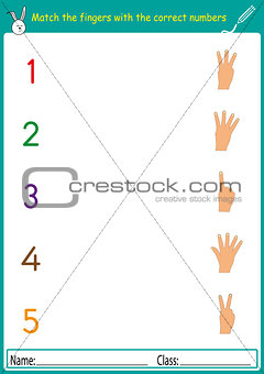 match the fingers with the correct numbers, math worksheet for kindergarten