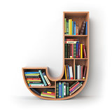 Letter J. Alphabet in the form of shelves with books isolated on