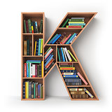 Letter K. Alphabet in the form of shelves with books isolated on