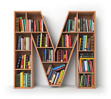Letter M. Alphabet in the form of shelves with books isolated on
