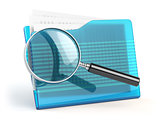 File search concep.  Folders and loupe or  magnifying glass.