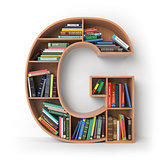 Letter G. Alphabet in the form of shelves with books isolated on