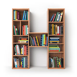 Letter H. Alphabet in the form of shelves with books isolated on