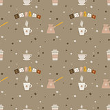 Seamless background with coffee drinks