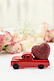 Vintage Red Toy Truck and Valentine's Day Heart