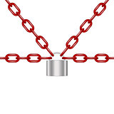 Red chains locked by padlock in silver design