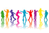 Colorful group of children silhouettes dancing