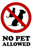 No pet allowed sign