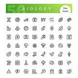 Biology Line Icons Set