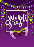 Mardi gras handwritten text greeting card. Carnival mask with feather