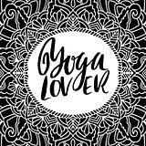 Yoga lover dry brush lettering on mandala pattern background. Yoga typography poster. Vector illustration.