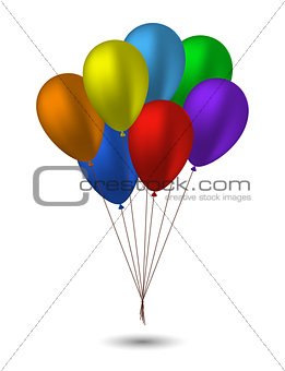 Seven balloons in the colors of the rainbow