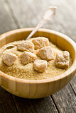 unrefined cane sugar in bowl