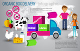 Organic food box delivery infographic concept