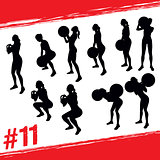 Vector silhouettes of people doing fitness and crossfit workouts
