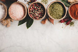 Set of spices on rustic murble background