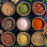 Set of spices on dark rustic background