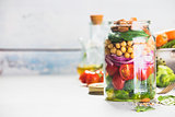 Healthy Homemade Salad in Glass Jar