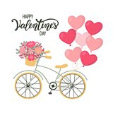 Valentines Day background bicycle with heart shaped balloons and flowers