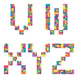 V, w, x, y, z alphabet letters from children building block icon set