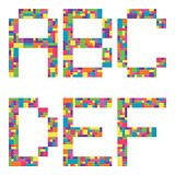 A, b, c, d, e, f alphabet letters from children building block icon set