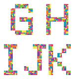 G, h, i, j, k alphabet letters from children building block icon set