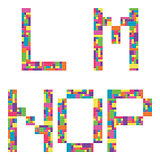 L, m, n, o, p alphabet letters from children building block icon set