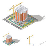 Building house, pouring a reinforced concrete frame, laying brick walls isometric icon set