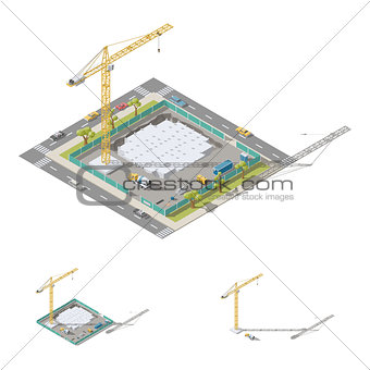 Pouring foundation of a residential building isometric lowpoly ion set