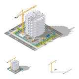 Construction of house, monolithic frame of the building isometric low poly icon set