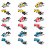 American trucks isometric low poly icon set