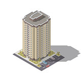 Residential building with parking isometric lowpoly icon set
