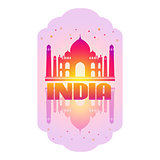 Taj Mahal Card on white background. Vector illustration.