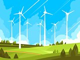 Windmills on green fields