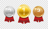 Champion Award Medals sport prize. gold, silver and bronze award medals with red ribbons isolated on transparent background. Vector illustration