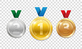 Champion Award Medals for sport winner prize. Set of realistic 3d gold, silver and bronze award trophy medals with ribbons. Vector illustration isolated