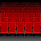 Realistic cinema hall red seats. Movie theater with rows of empty seats or chairs. Vector illustration