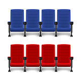Realistic comfortable movie chairs. Cinema empty seats. Red and blue seat for cinema theater. Vector illustration