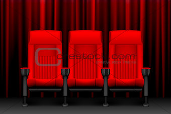 Cinema show design with red empty seats. Poster for concert, party, theater. Realistic chairs for cinema theater. vector illustration