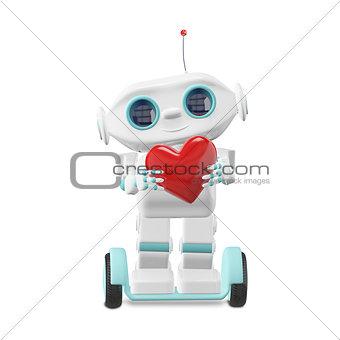 3D Illustration Little Robot with Heart