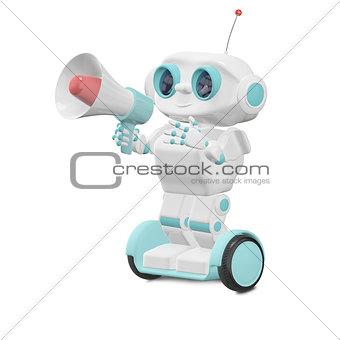 3D Illustration Robot with Megaphone
